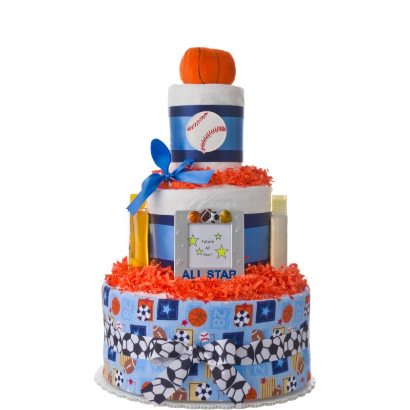All Star Boys Baby Diaper Cake - All star birthday cake