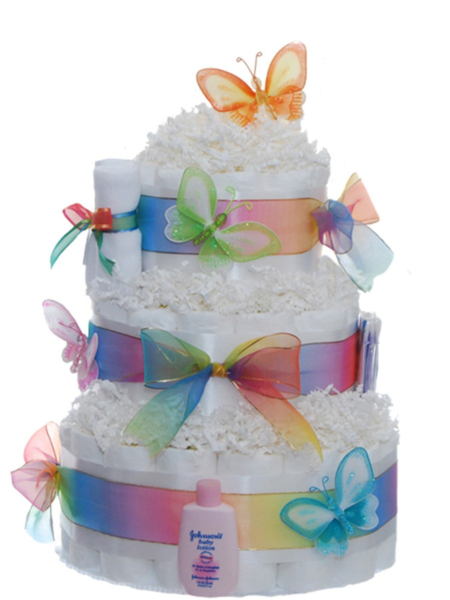 Images Of Baby Diaper Cake : Pastel Baby Butterfly 3 Tier Rolled Diaper Cake Baby ...