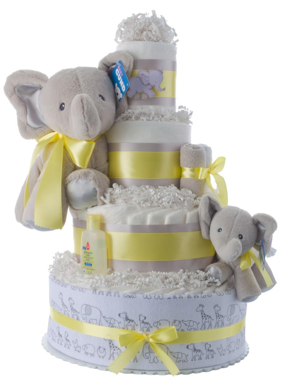 Lil  Baby Elephant 4 tier diaper cake