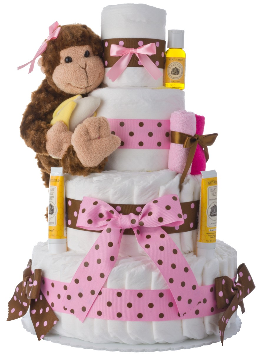 Monkey 4 tier diaper cake pink baby shower diaper cakes unique diaper cake gifts - Baby shower monkey decorations for a girl ...