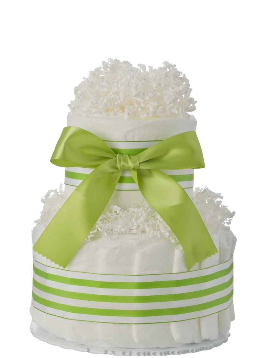 mini tickled green 2 tier diaper cake
