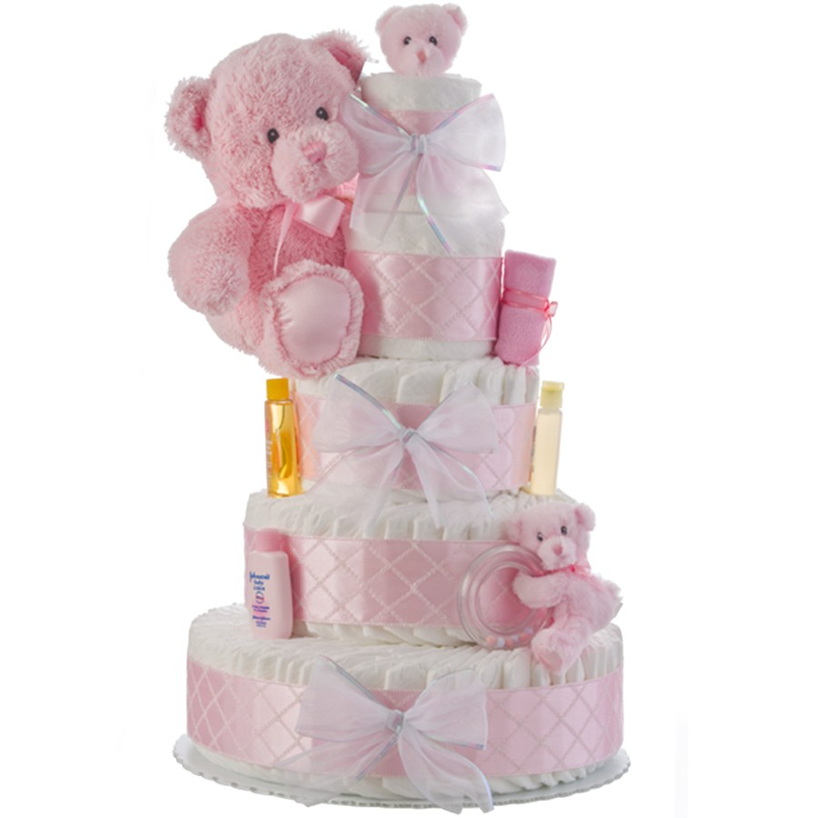 my first teddy bear pink diaper cakes