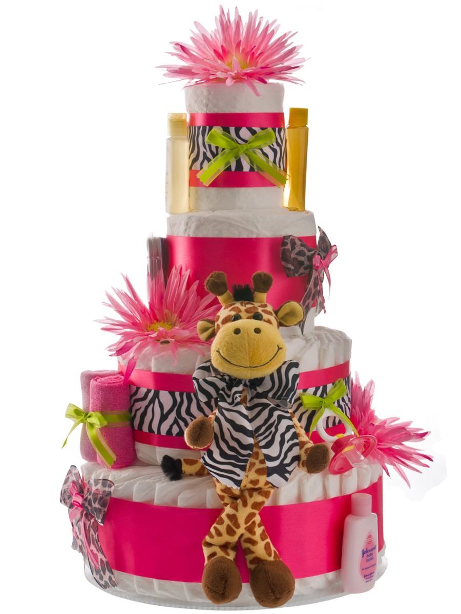 Pink Safari Diaper Cake Diaper Cake · Pink Safari