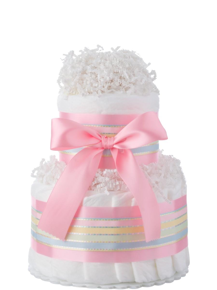 mini tickled pink 2 tier diaper cake