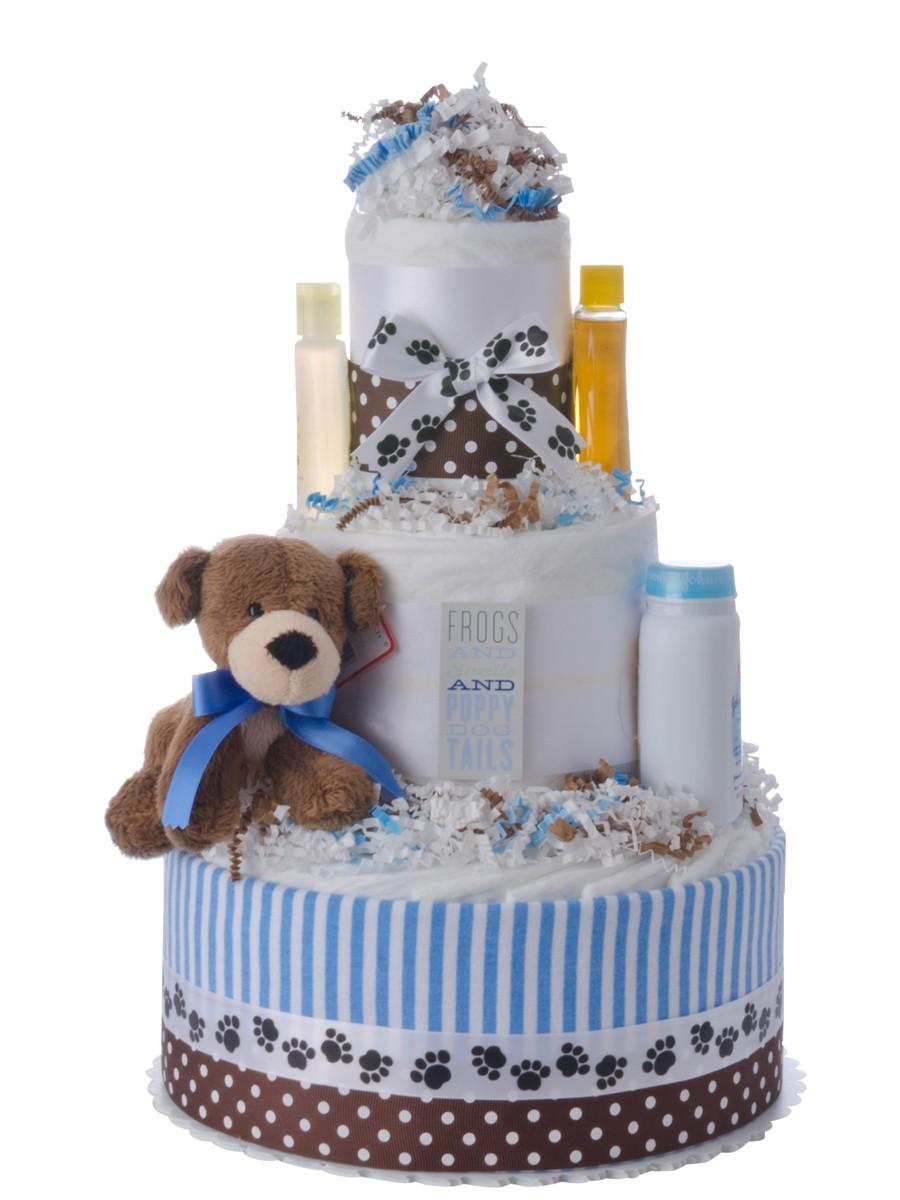 Puppy Tails Boy Diaper Cake