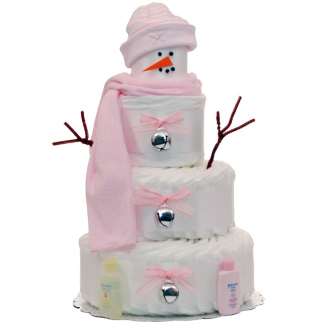 Holiday Snow Girl Diaper Cakes | Holiday Diaper Cakes