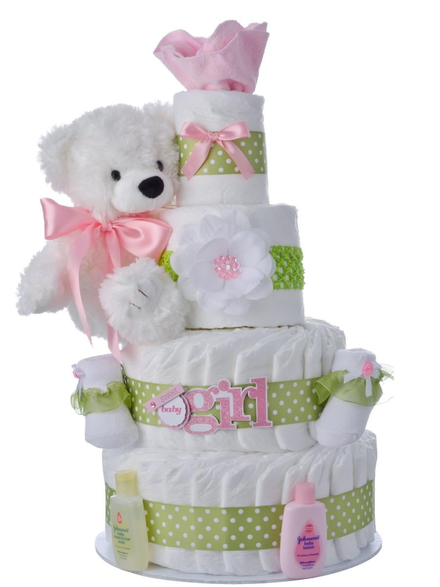 Sweet Baby Girl 4 Tier Diaper Cakes | Baby Shower Diaper ...