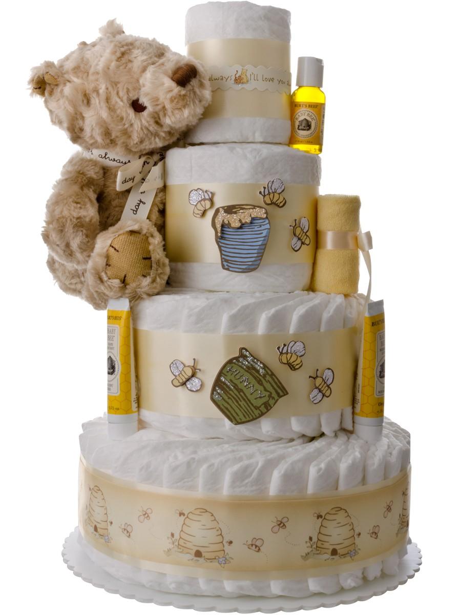 winnie the pooh 4 tier diaper cake  the unique diaper cake gift