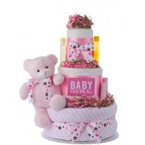 Dottie Pink Bear Girls Diaper Cake