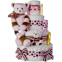 Lil' Baby Cakes Pink Striped Bear 4 Tier Diaper Cake
