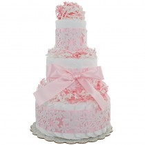 Pink Lace 3 Tier Diaper Cake