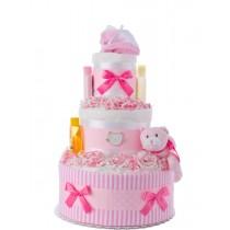 Pink Kitty Girl Diaper Cake