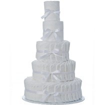 5 Tier Plain White Diaper Cake