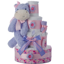 Purple Hippo Diaper Cake