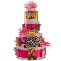 Pink Safari Giraffe 4 Tier Diaper Cake