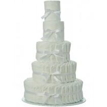 5 Tier Plain White Diaper Cake