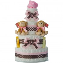 Twins Girls 4 Tier Diaper Cake