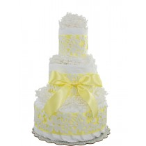 Yellow Lace 3 Tier Diaper Cake