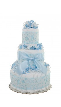 Blue Lace 3 Tier Diaper Cake