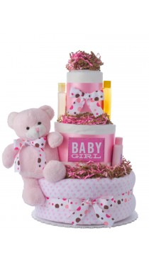 Dottie Pink Girls Diaper Cake