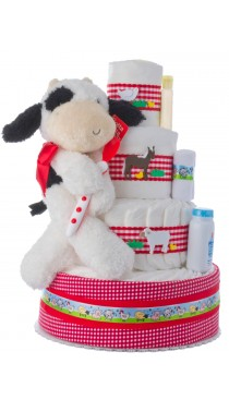 Fuzzy the Cow Baby Shower Diaper Cake