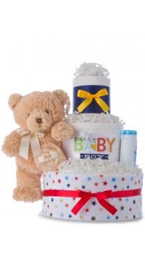 Hello Baby Boy 3 Tier Diaper Cake