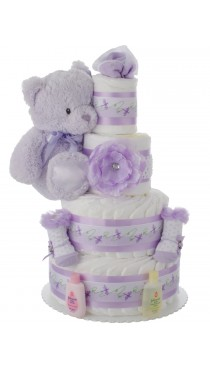 Lavender Diaper Cake for Baby Showers