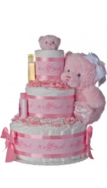 Lil Baby Cakes Girls Pink Bear Diaper Cake