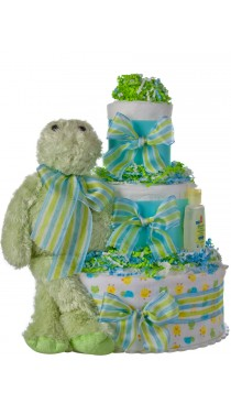 Lil Baby Cakes Frog 3 Tier Diaper Cake