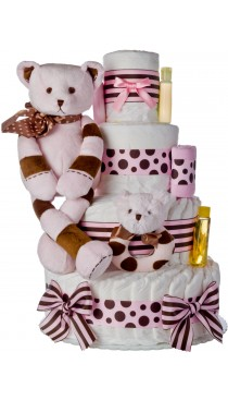 Lil Baby Cakes Pink Striped Bear Diaper Cake