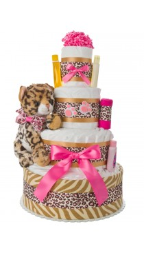Lil' Baby Leopard 4 Tier Diaper Cake for Girls