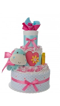 Lil Baby Cakes Girls Hippo 3 Tier Baby Diaper Cake