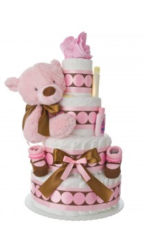 Lil' Pink Dottie 4 Tier Baby Diaper Cake