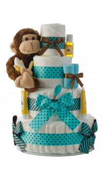 Our Lil' Monkey 4 Tier Diaper Cake Teal