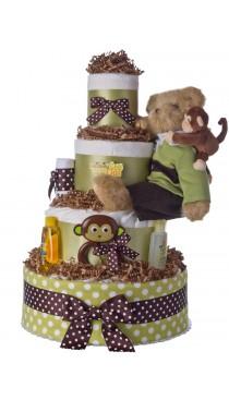 Monkey See Monkey Do Diaper Cake