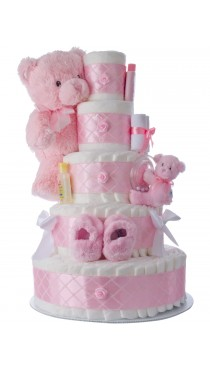 Five Tier Pink Diaper Cake for Girls