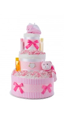 Pink Kitty Newborn Girl Diaper Cake