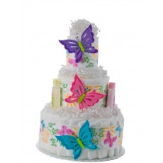 Butterfly 3 Tier Girl Diaper Cake