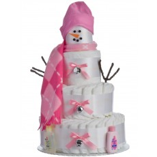 Holiday Snow Girl Diaper Cake