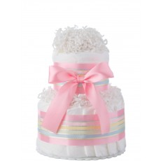 Pink Two Tier Mini Girls Diaper Cake