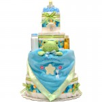Satin Blue Frog 4 Tier Diaper Cake