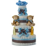 Twin Boys Monkey 4 Tier Diaper Cake