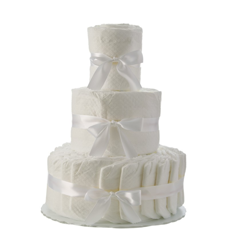 Plain White 3 Tier Diaper Cake