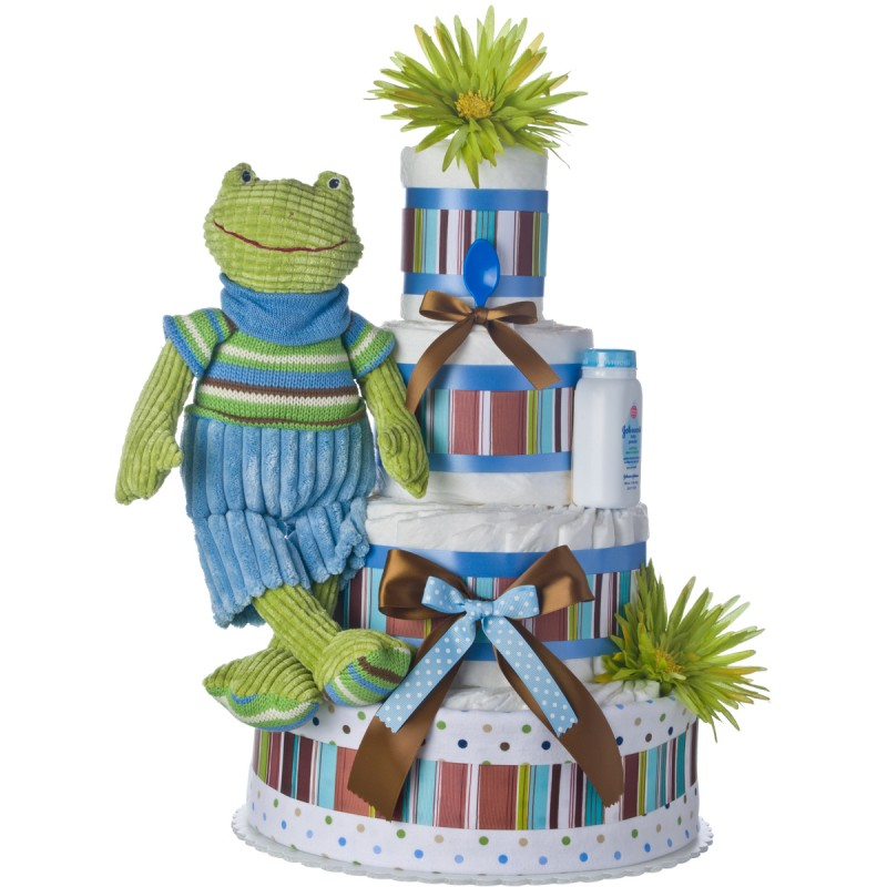 Blue Frog 4 Tier Diaper Cake