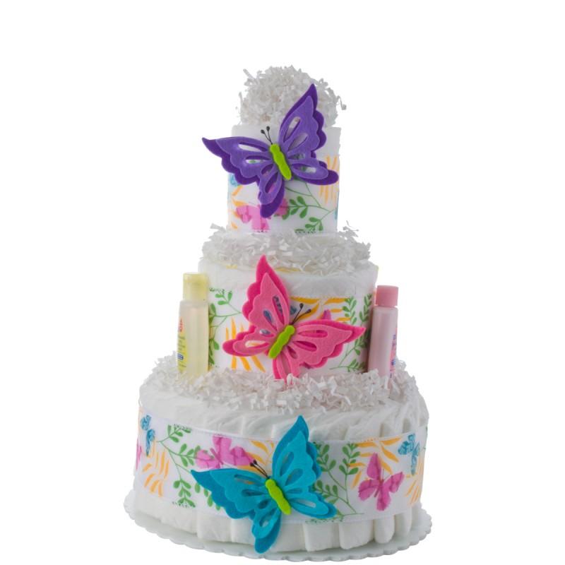 Butterfly 3 Tier Girl Diaper Cake