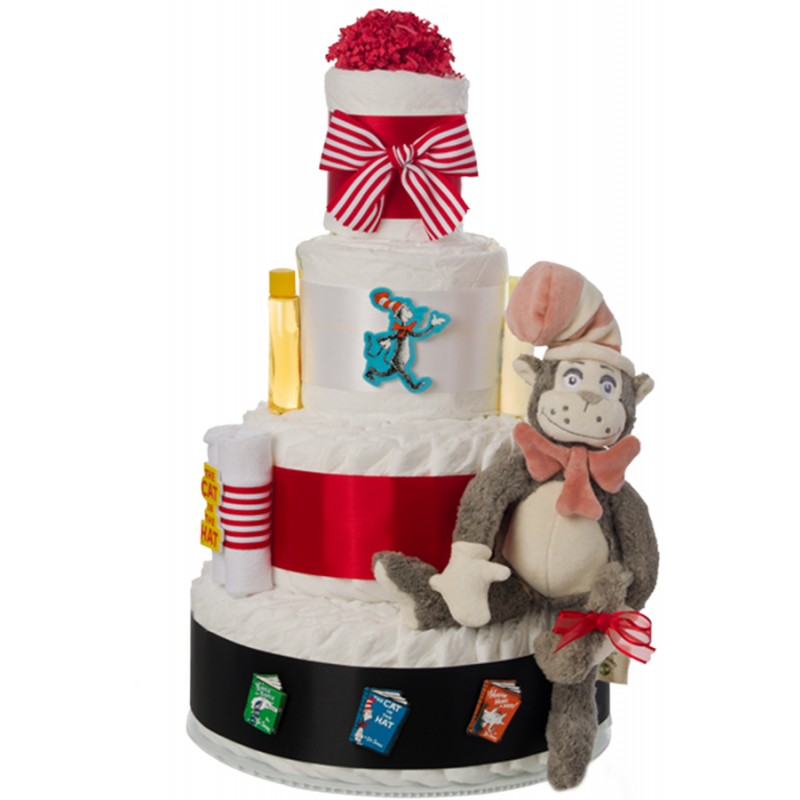 Dr Seuss Cat In The Hat 4 Tier Diaper Cake