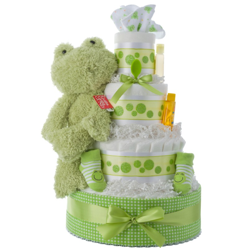 Fuzzy Frog Baby Diaper Cake