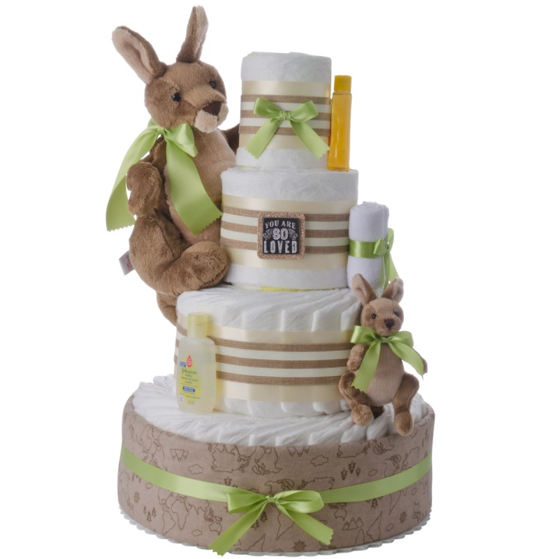 Kangaroo Love Neutral Diaper Cake