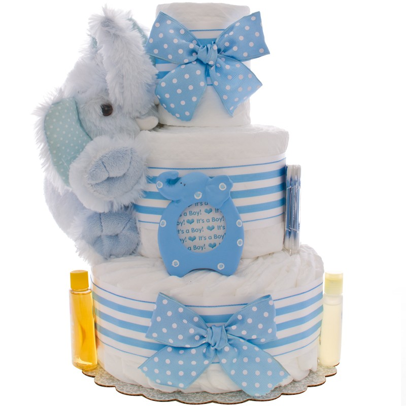 Lil' Blue Elephant 3 Tier Diaper Cake