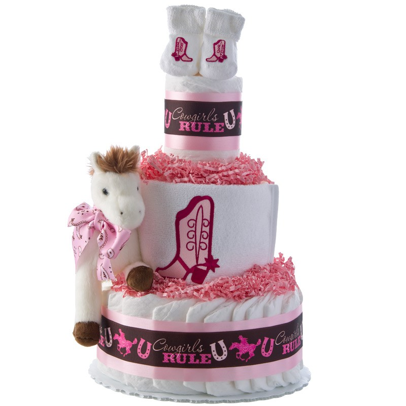 Cowgirls Rule 3 Tier Diaper Cake